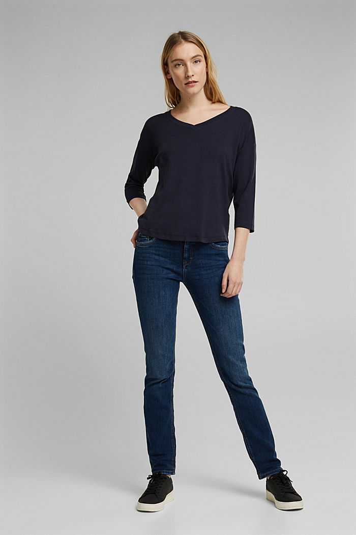 Organic cotton long sleeve top with LENZING™ ECOVERO™, NAVY, detail image number 1