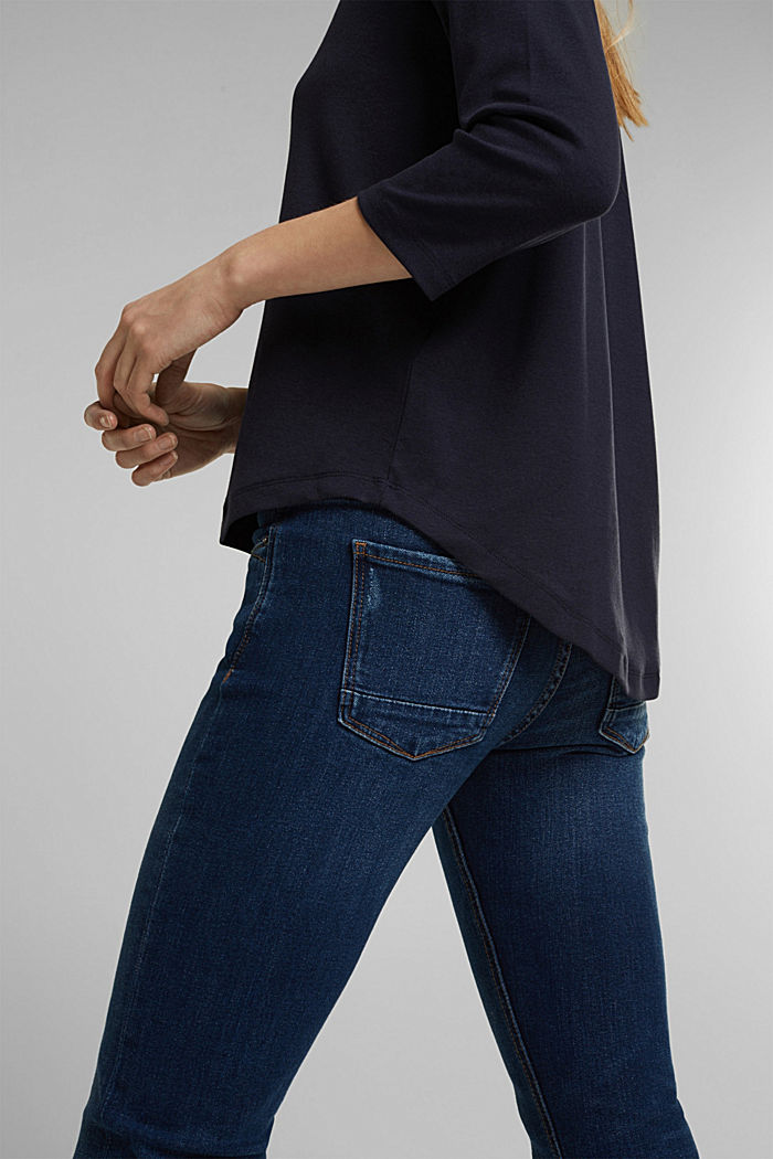 Organic cotton long sleeve top with LENZING™ ECOVERO™, NAVY, detail image number 2