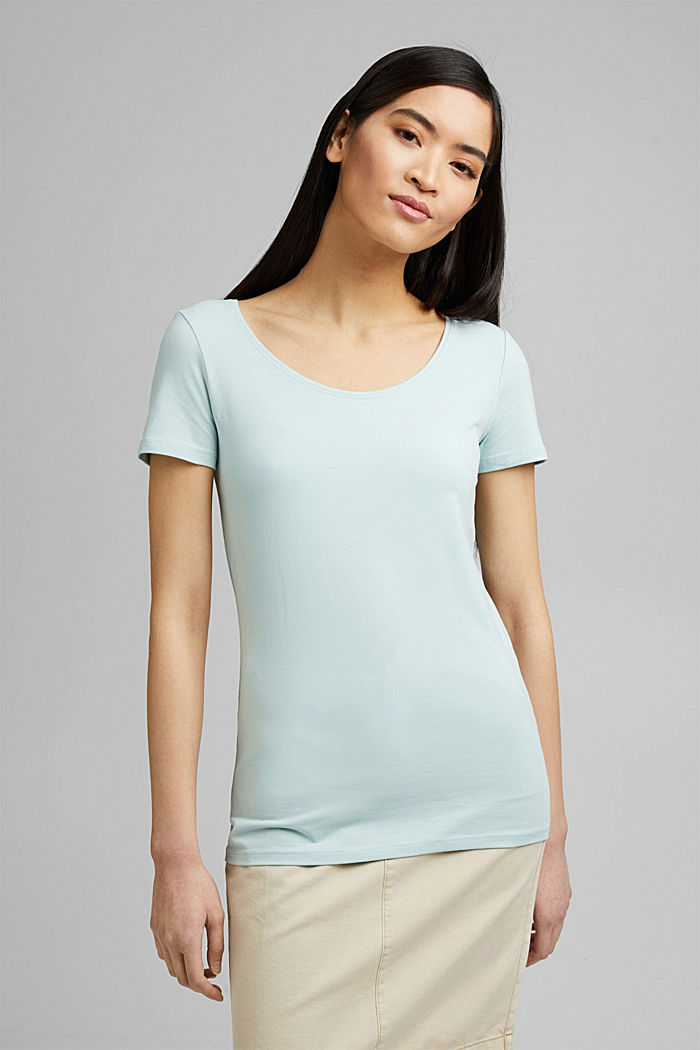 Basic T-shirt in organic cotton, LIGHT AQUA GREEN, detail image number 0