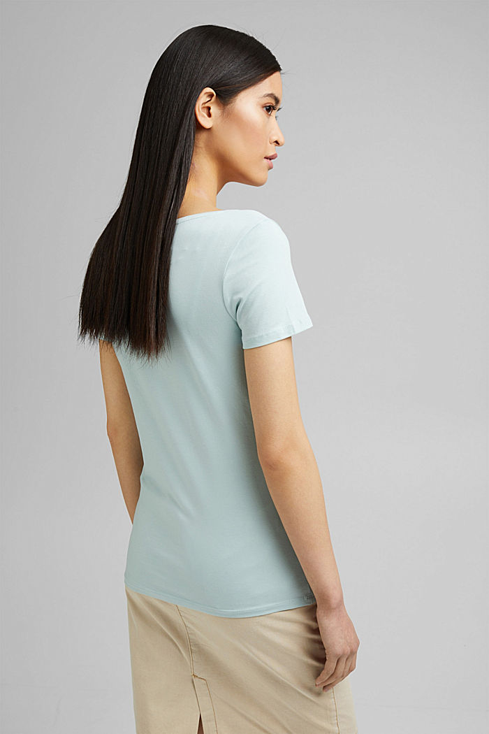 Basic T-shirt in organic cotton, LIGHT AQUA GREEN, detail image number 3