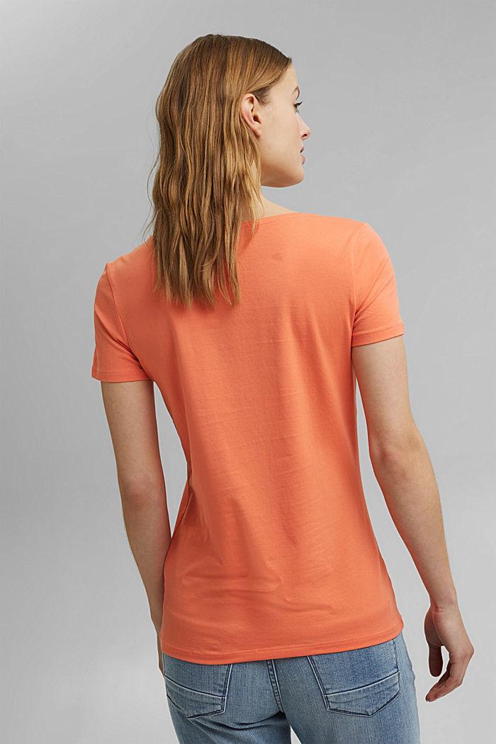 Basic T-shirt in organic cotton, CORAL ORANGE, detail image number 3