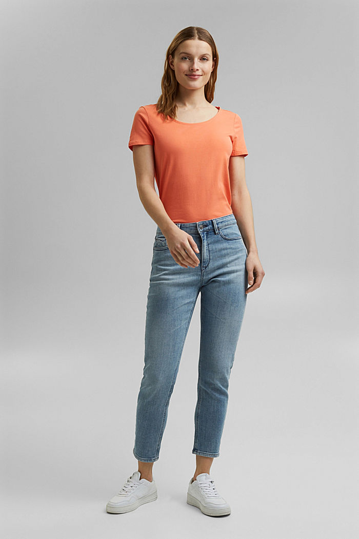 Basic T-shirt in organic cotton, CORAL ORANGE, detail image number 7