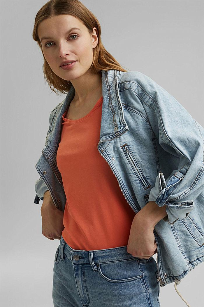 Basic T-shirt in organic cotton, CORAL ORANGE, detail image number 6