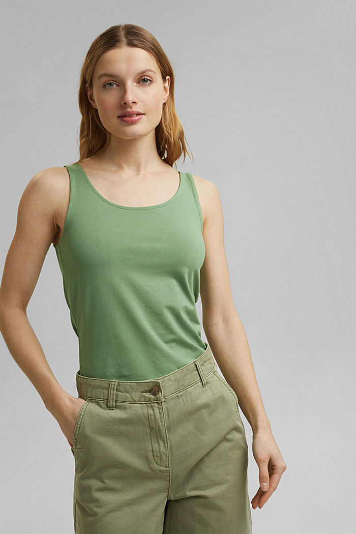 Tank-Top mit Stretch aus Organic Cotton, LEAF GREEN, detail image number 0