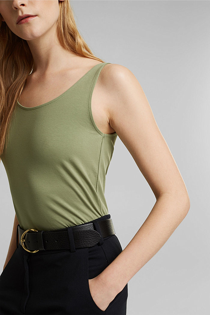 Tank-Top mit Stretch aus Organic Cotton, LIGHT KHAKI, detail image number 2