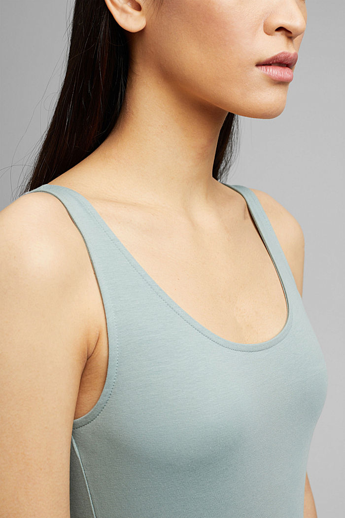Tank-Top mit Stretch aus Organic Cotton, TURQUOISE, detail image number 2