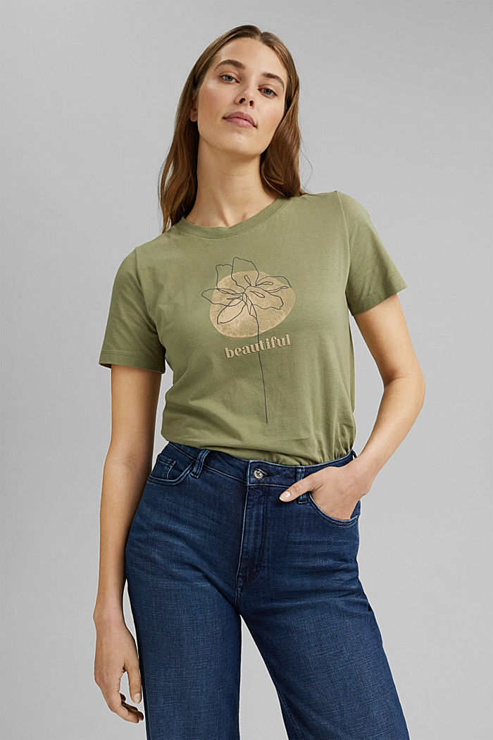 Printed T-shirt in 100% organic cotton, LIGHT KHAKI, detail image number 0