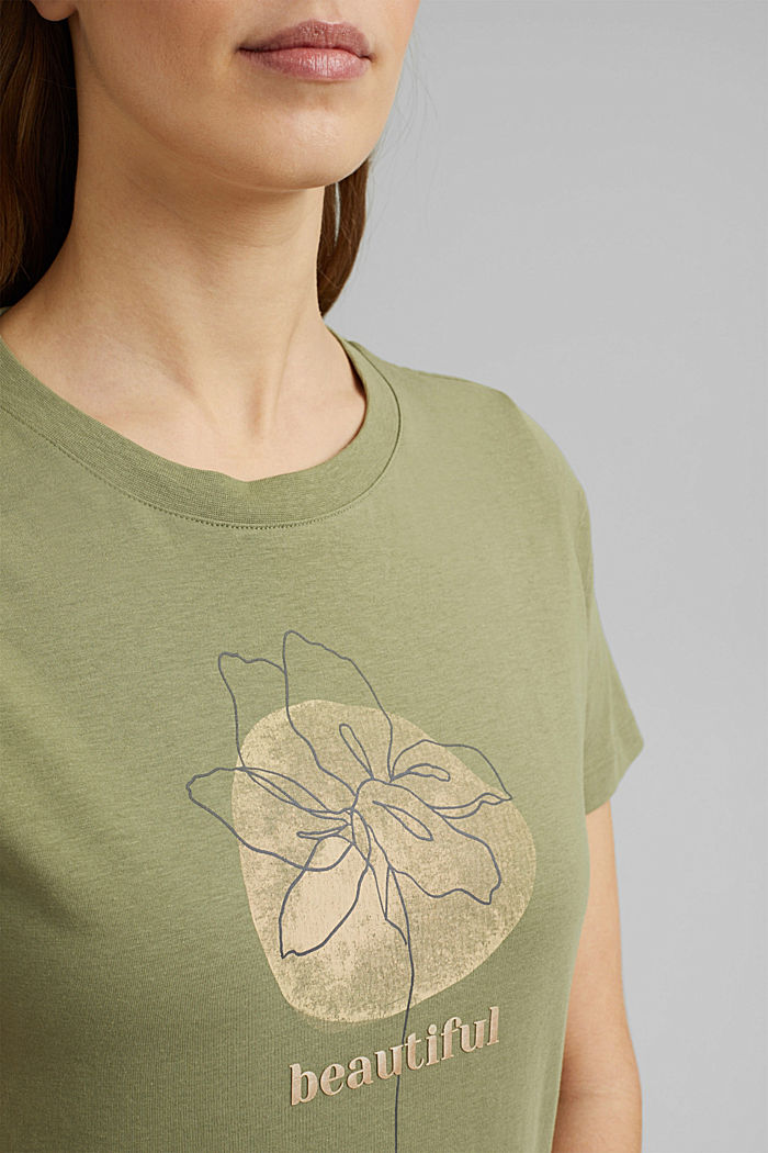 Printed T-shirt in 100% organic cotton, LIGHT KHAKI, detail image number 2