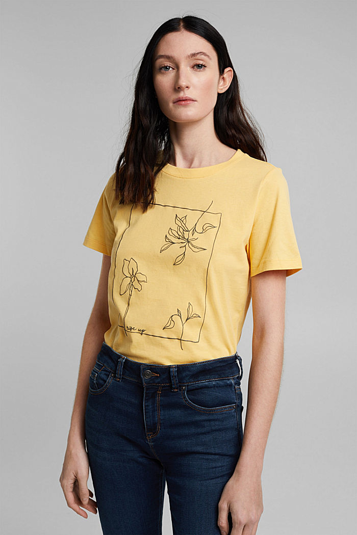 Printed T-shirt in 100% organic cotton, SUNFLOWER YELLOW, detail image number 5