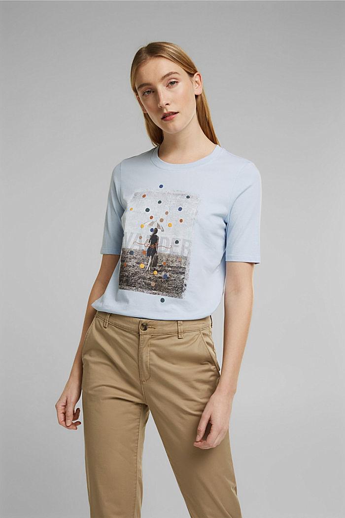 T-shirt met print, van 100% biologisch katoen, PASTEL BLUE, detail image number 0