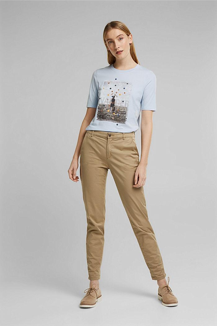 T-shirt met print, van 100% biologisch katoen, PASTEL BLUE, detail image number 1