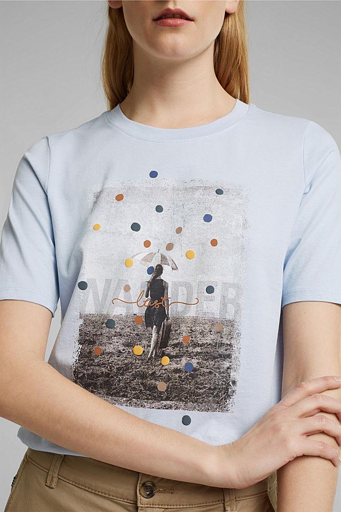 T-shirt met print, van 100% biologisch katoen, PASTEL BLUE, detail image number 2