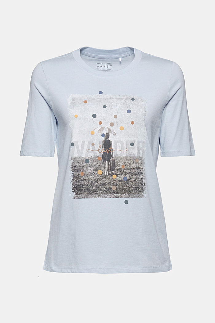 T-shirt met print, van 100% biologisch katoen, PASTEL BLUE, detail image number 6