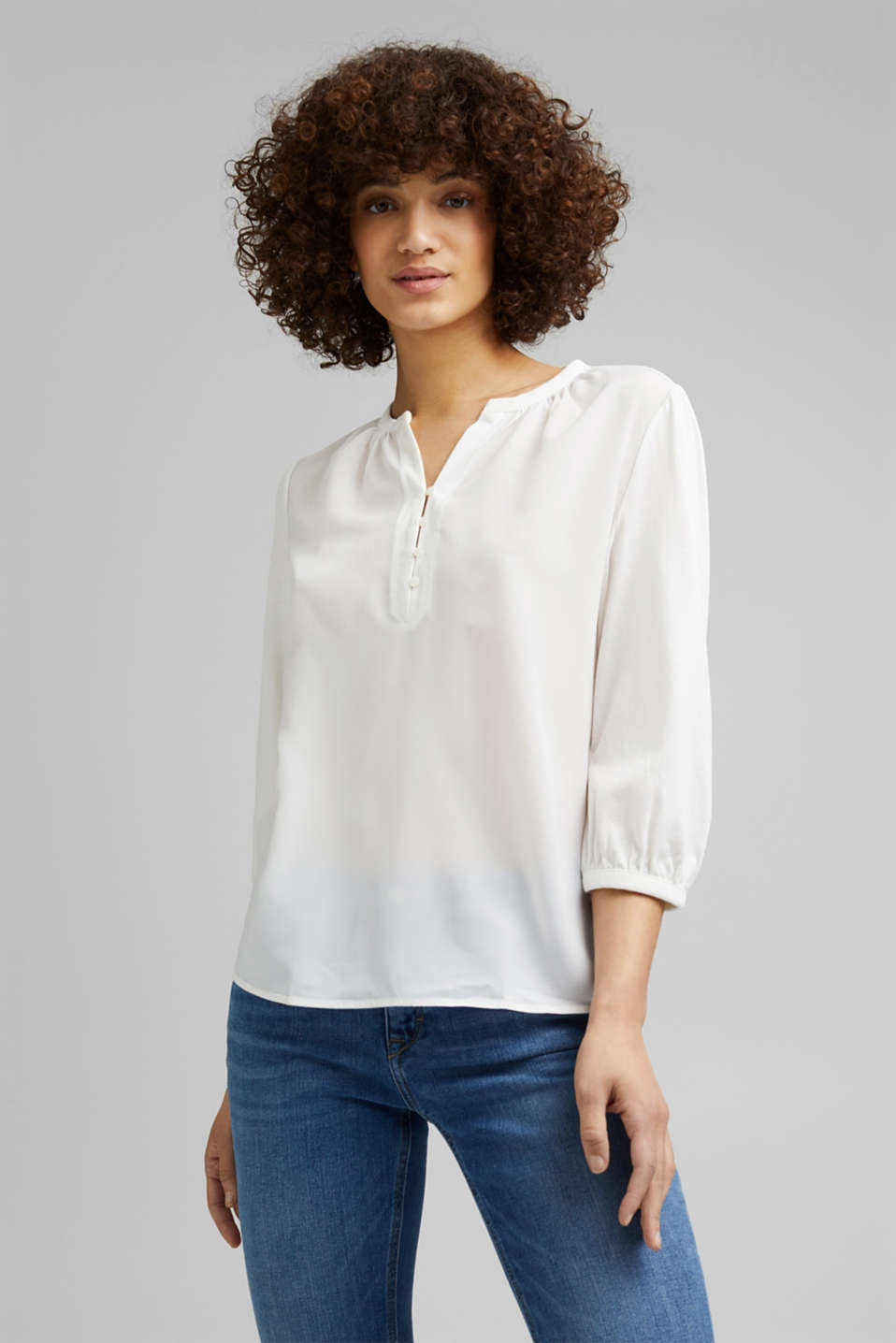Esprit - Satin/jersey top with organic cotton