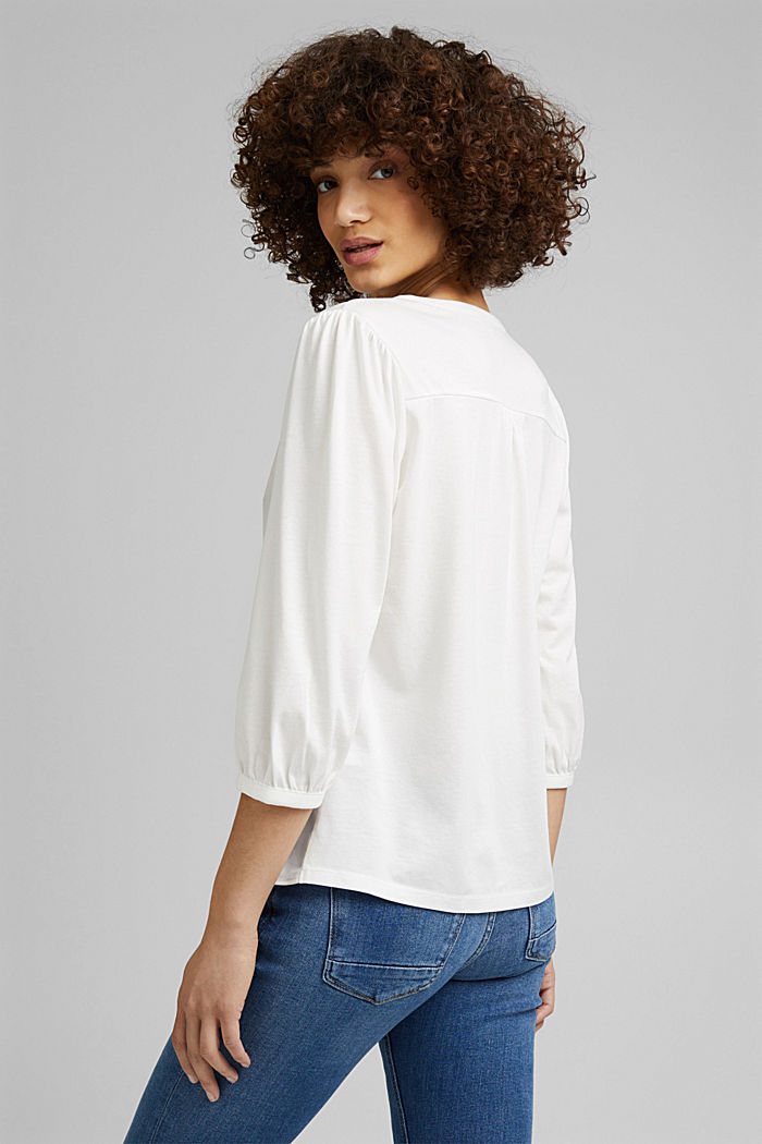 Satin/jersey top with organic cotton, OFF WHITE, detail image number 3