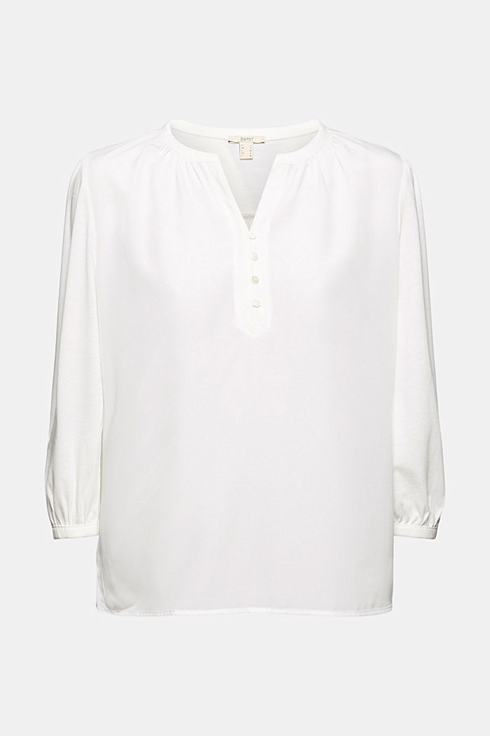 Satin/jersey top with organic cotton, OFF WHITE, detail image number 5