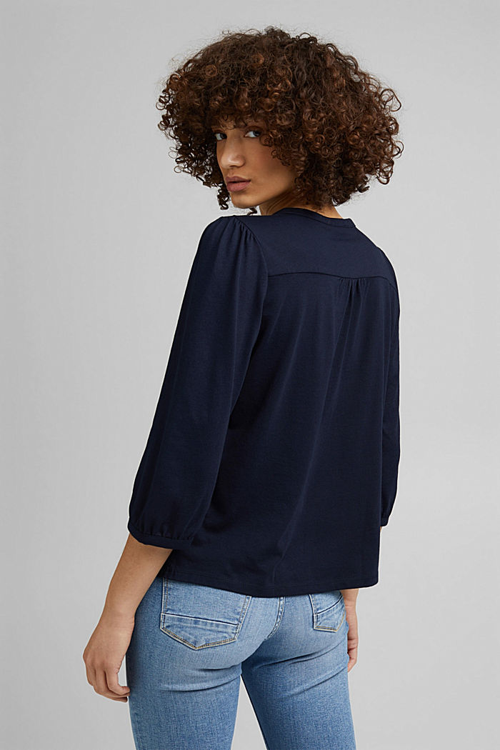 Satin/jersey top with organic cotton, NAVY, detail image number 3