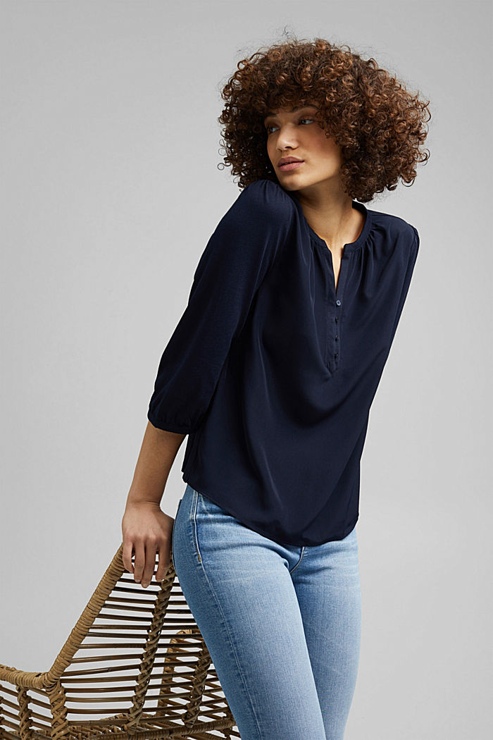 Satin/Jersey-Shirt mit Bio-Baumwolle, NAVY, detail image number 5
