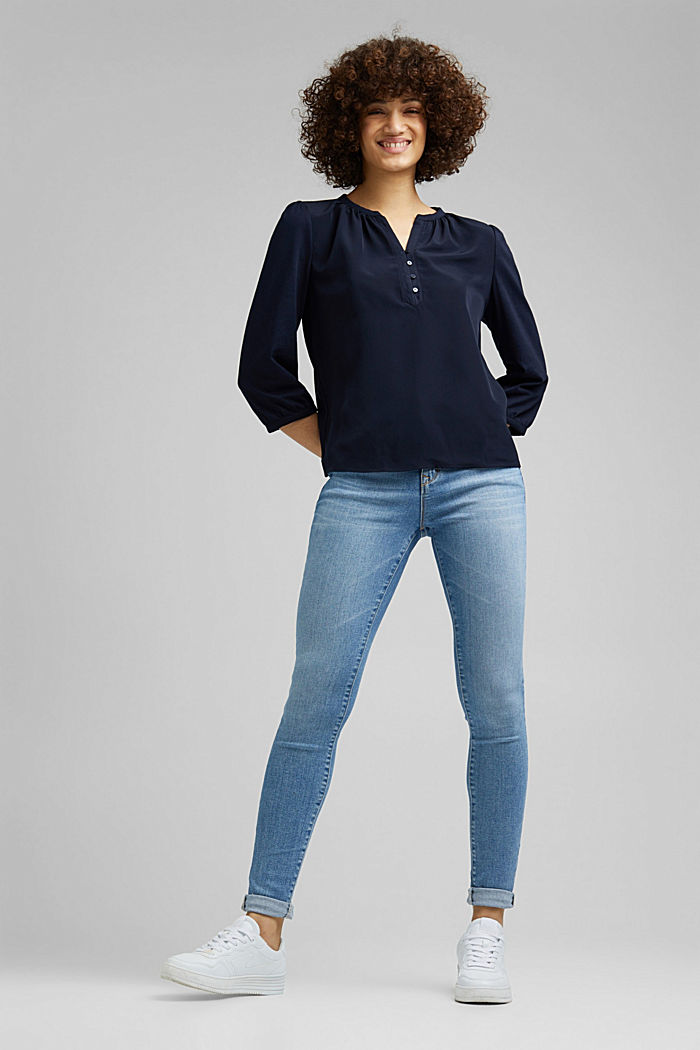 Satin/jersey top with organic cotton, NAVY, detail image number 1