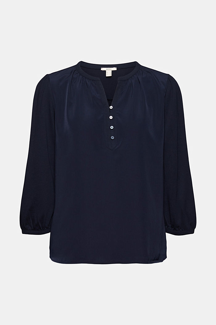 Satin/jersey top with organic cotton, NAVY, detail image number 6