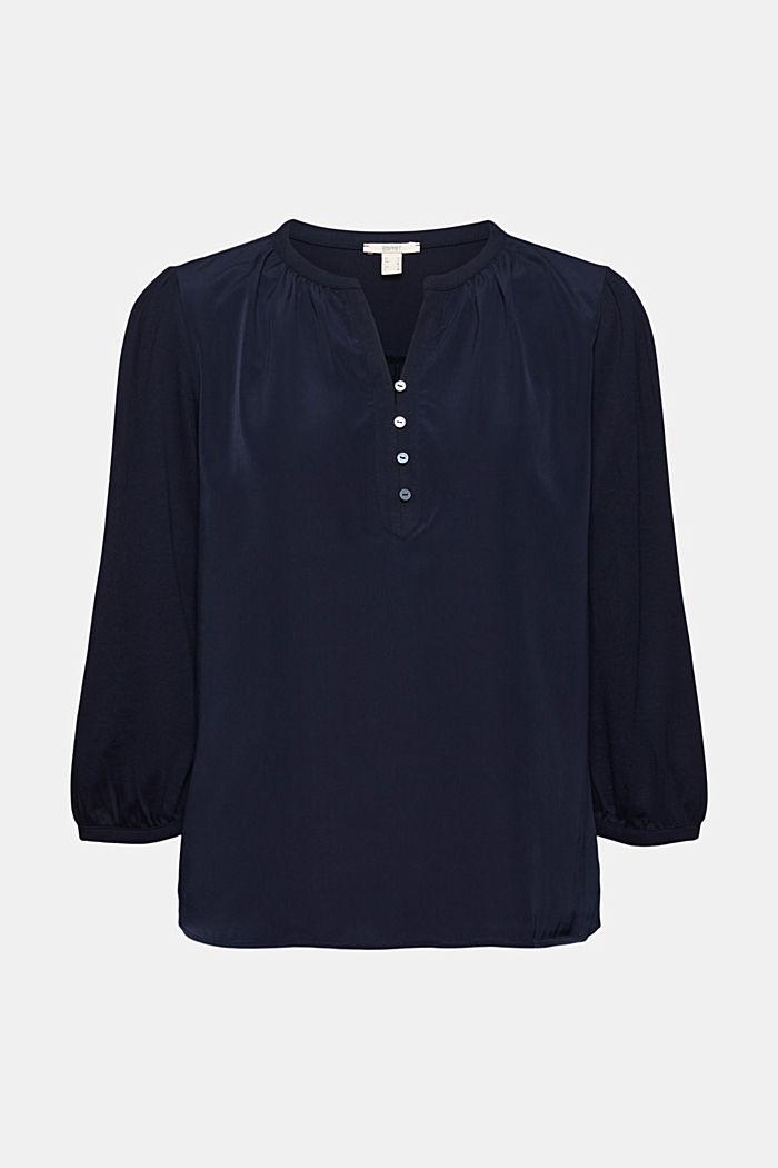Satin/Jersey-Shirt mit Bio-Baumwolle, NAVY, detail image number 6