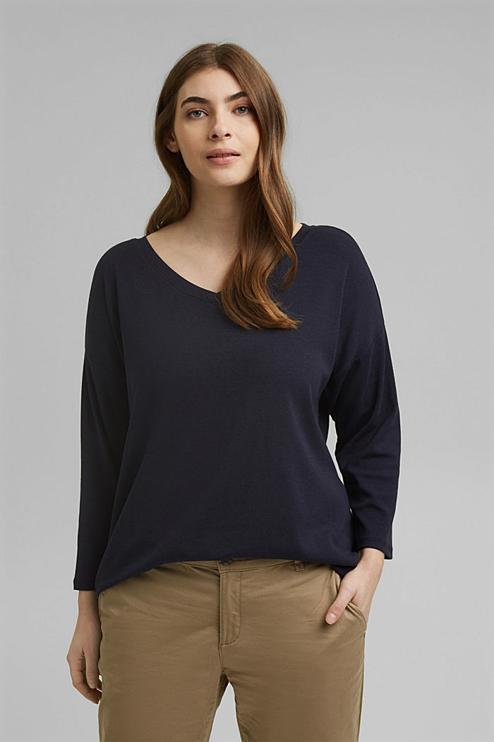 CURVY long sleeve top with organic cotton/ ECOVERO™, NAVY, detail image number 0