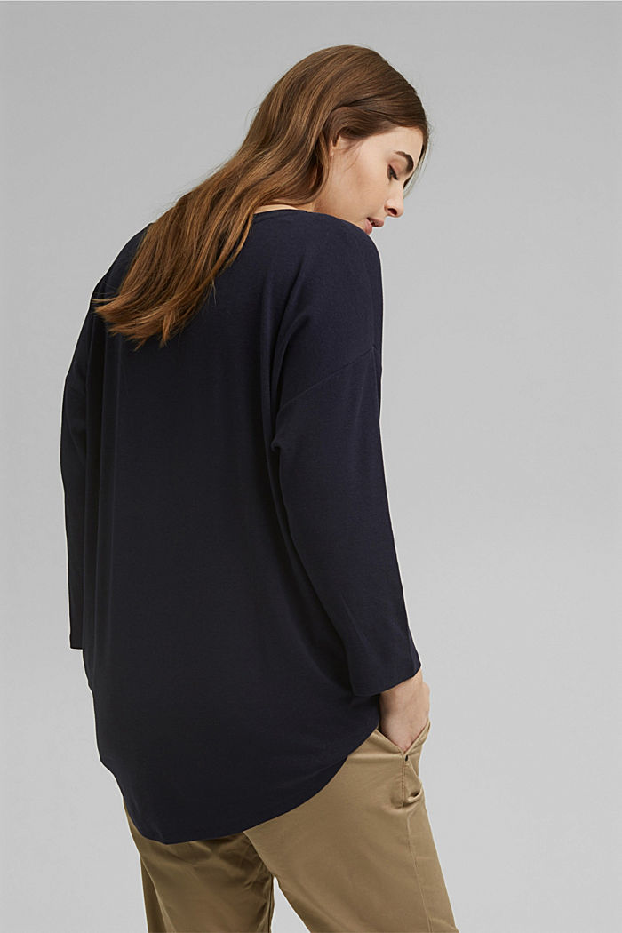 CURVY long sleeve top with organic cotton/ ECOVERO™, NAVY, detail image number 3