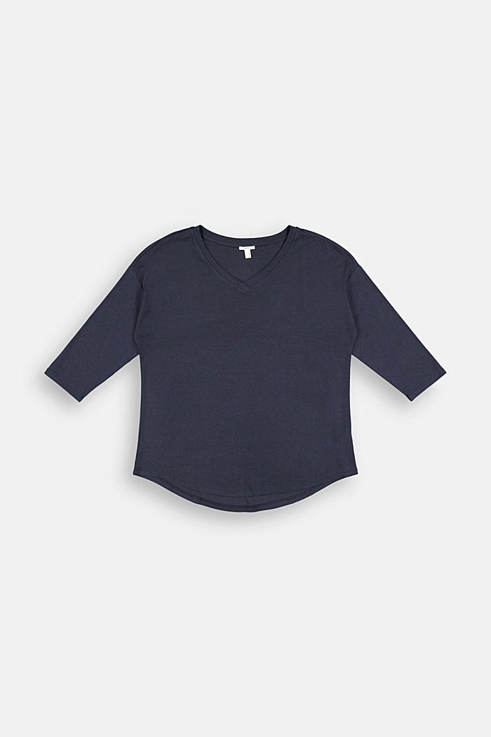 CURVY long sleeve top with organic cotton/ ECOVERO™, NAVY, detail image number 6