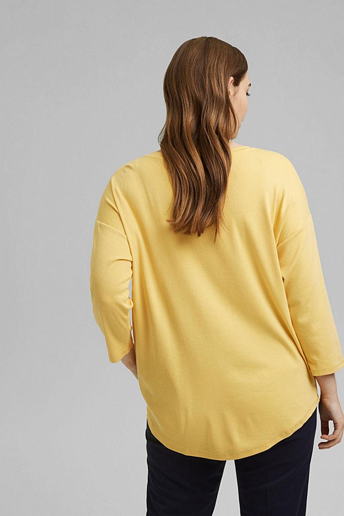 CURVY long sleeve top with organic cotton/ ECOVERO™, SUNFLOWER YELLOW, detail image number 3