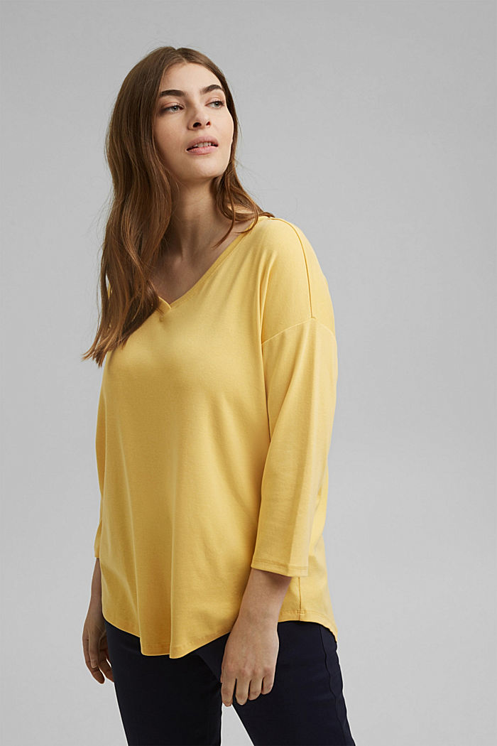 CURVY long sleeve top with organic cotton/ ECOVERO™, SUNFLOWER YELLOW, detail image number 5