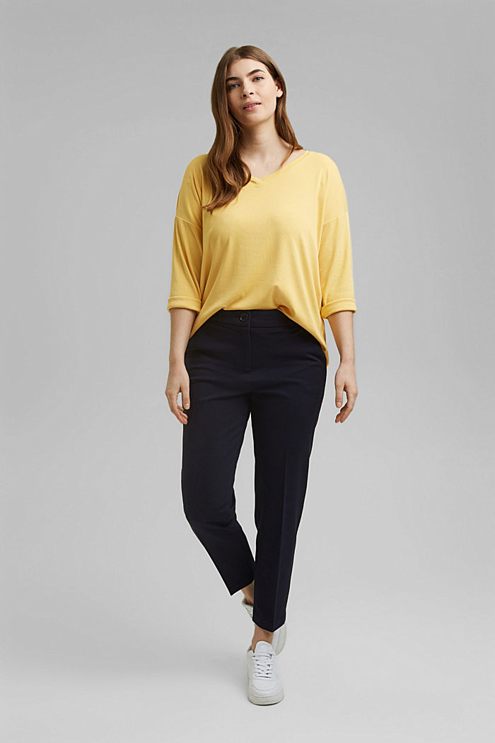 CURVY long sleeve top with organic cotton/ ECOVERO™, SUNFLOWER YELLOW, detail image number 1