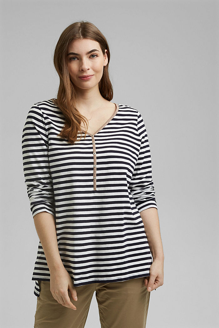 CURVY long sleeve top with stripes, organic cotton, NAVY, detail image number 0