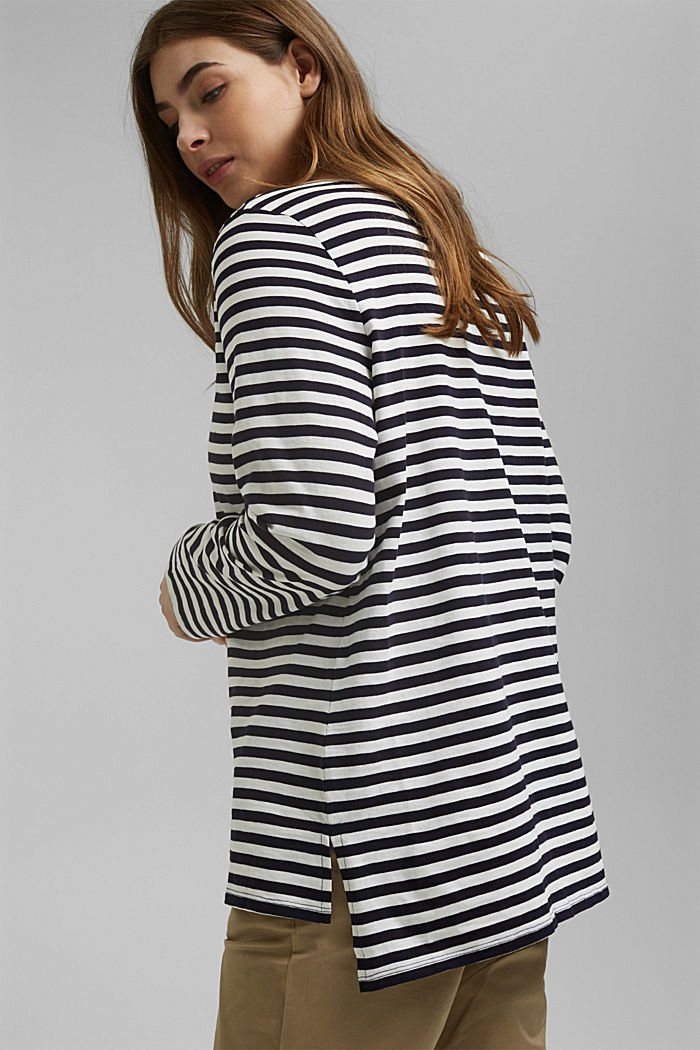 CURVY long sleeve top with stripes, organic cotton, NAVY, detail image number 3