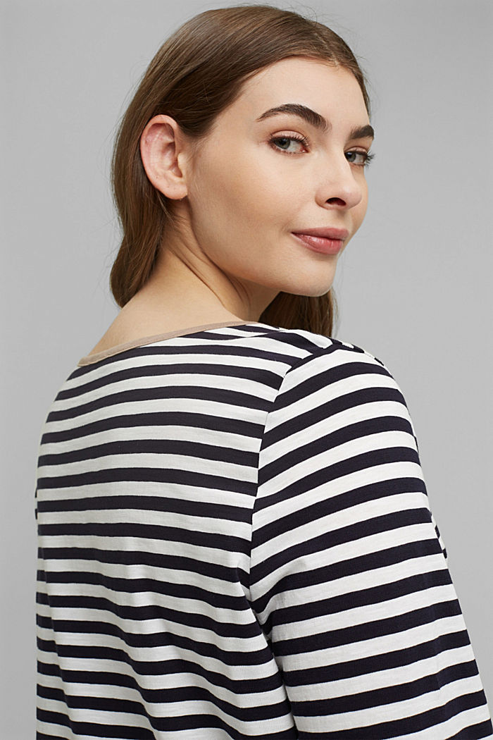 CURVY long sleeve top with stripes, organic cotton, NAVY, detail image number 5
