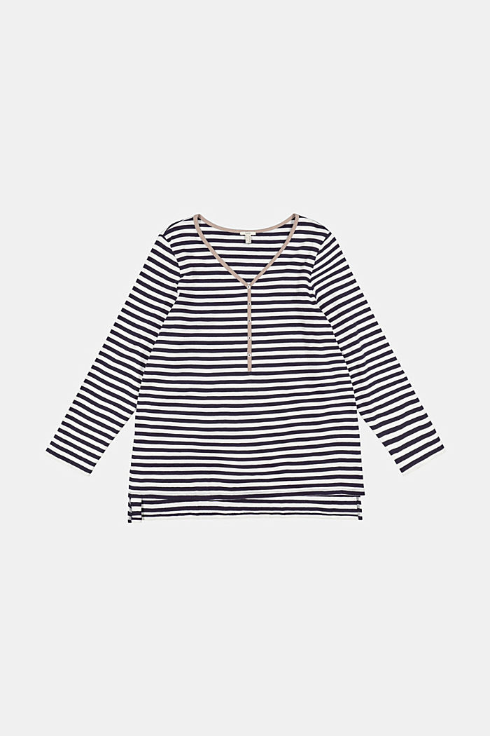 CURVY long sleeve top with stripes, organic cotton, NAVY, detail image number 6