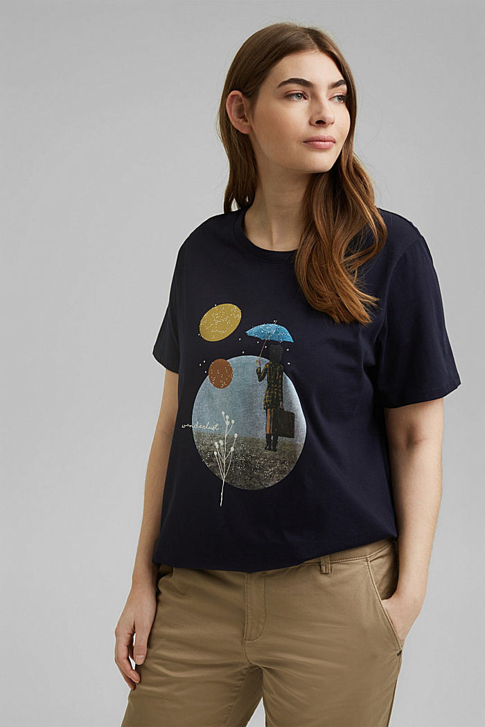 CURVY Print-Shirt, 100% Organic Cotton, NAVY, detail image number 0