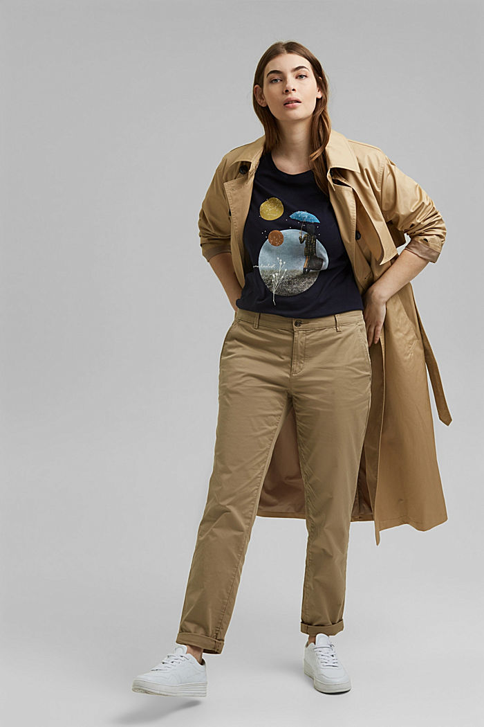 CURVY Print-Shirt, 100% Organic Cotton, NAVY, detail image number 1