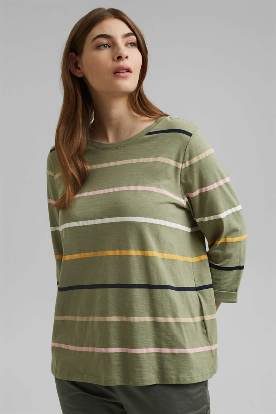 Esprit - CURVY long sleeve top with stripes, organic cotton