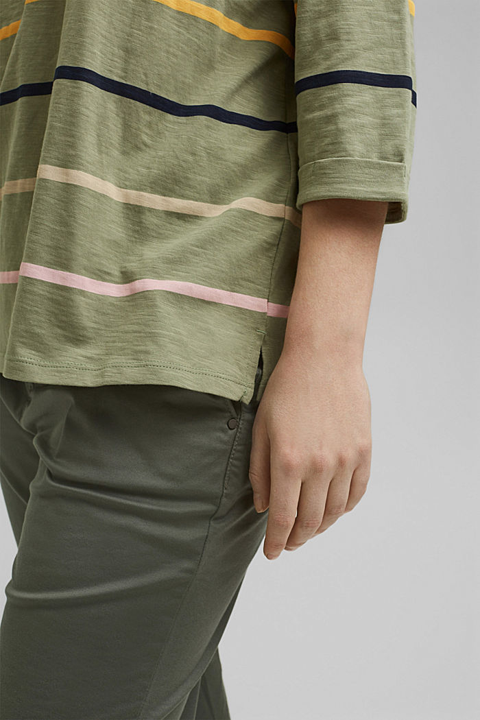 CURVY Longsleeve mit Streifen, Organic Cotton, LIGHT KHAKI, detail image number 2