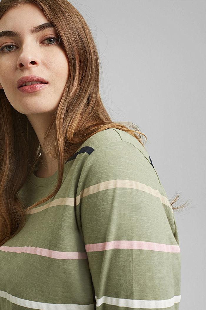 CURVY Longsleeve mit Streifen, Organic Cotton, LIGHT KHAKI, detail image number 5