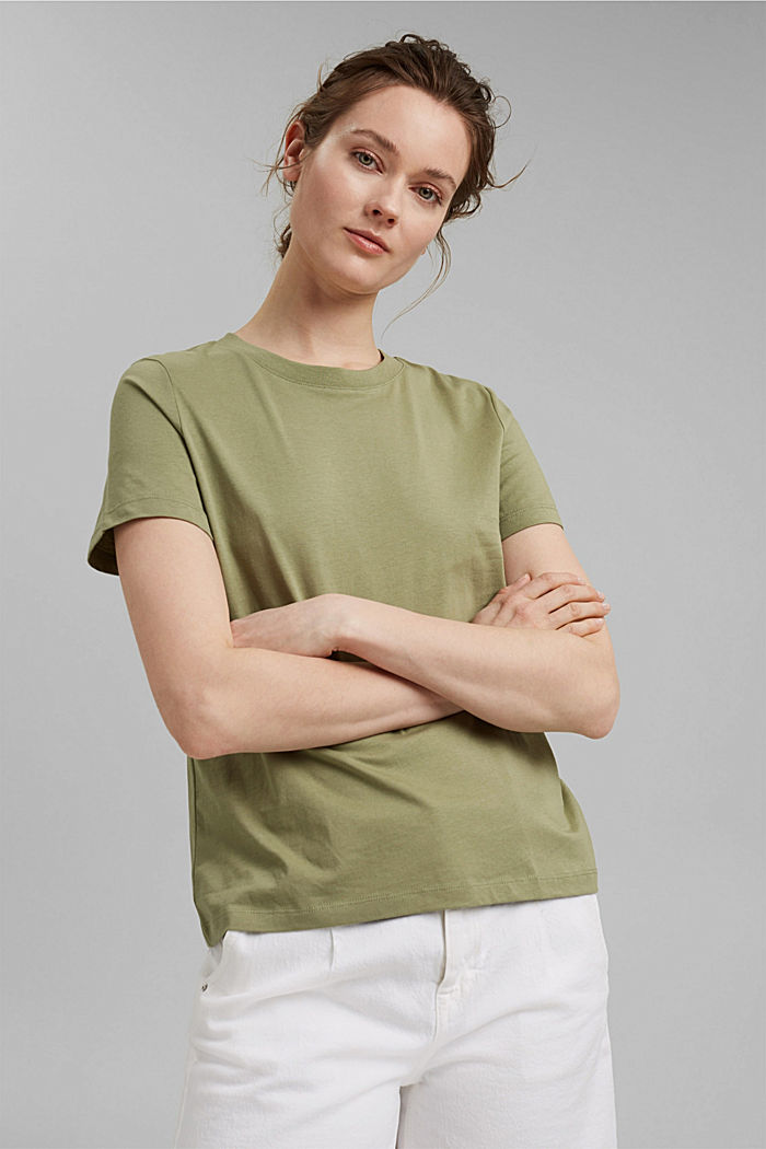 Jersey-Shirt aus 100% Organic Cotton, LIGHT KHAKI, detail image number 0