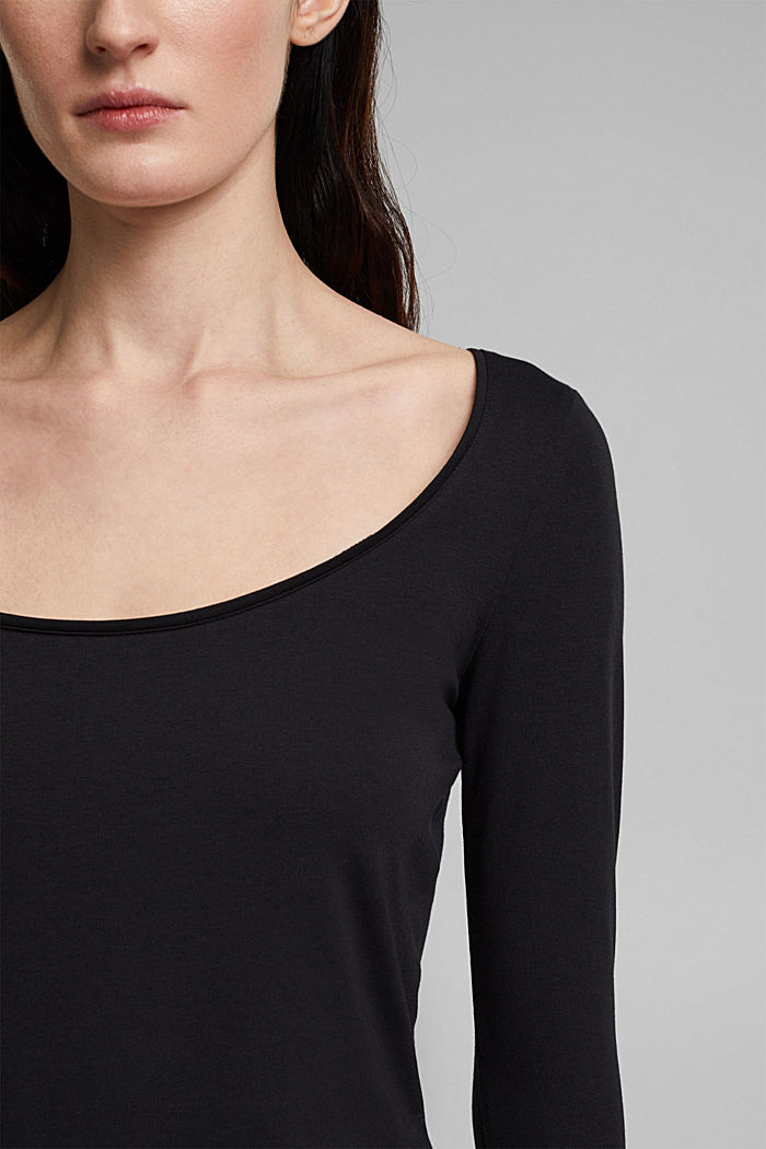 Long sleeve top with organic cotton, BLACK, detail image number 2