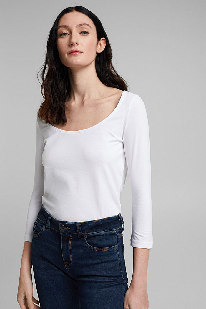 Long sleeve top with organic cotton, WHITE, overview