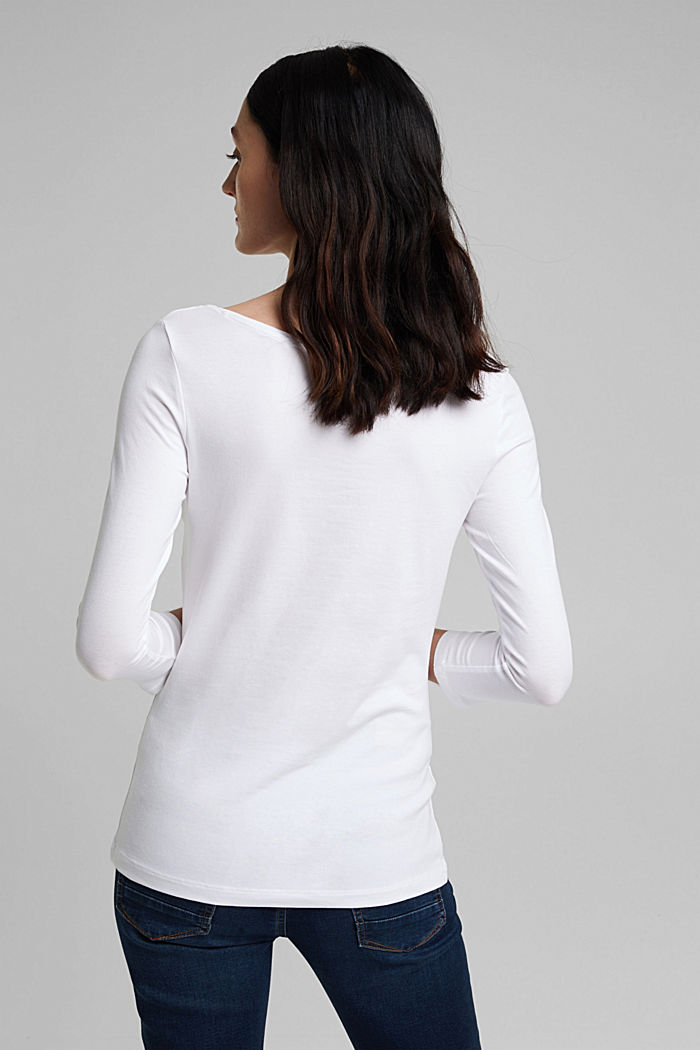 Long sleeve top with organic cotton, WHITE, detail image number 3