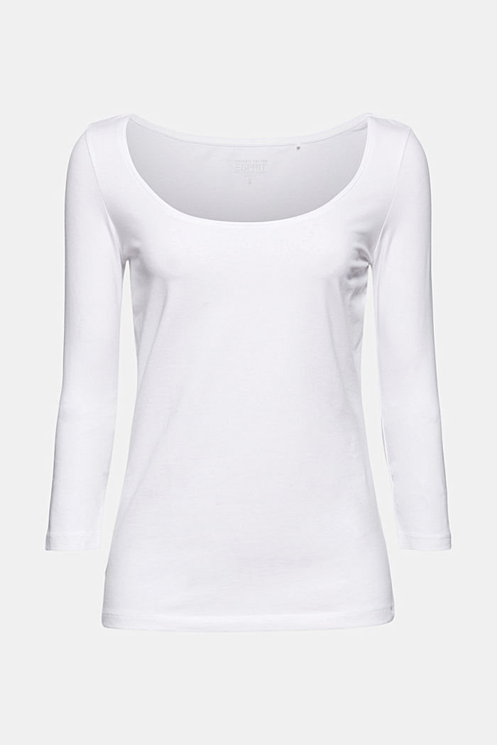 Long sleeve top with organic cotton, WHITE, detail image number 7