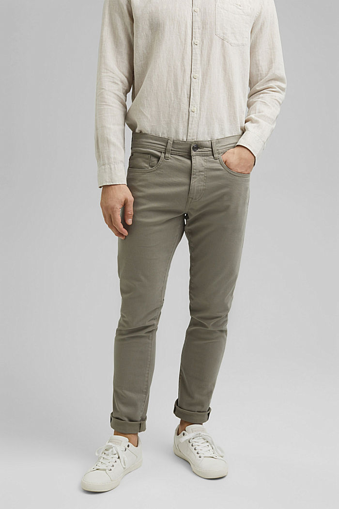 Slim-fitting stretch trousers made of organic cotton, GREY, detail image number 0