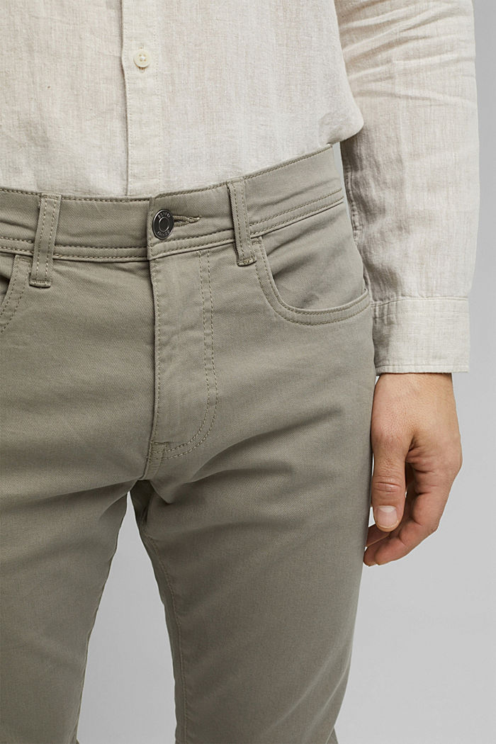 Slim-fitting stretch trousers made of organic cotton, GREY, detail image number 2