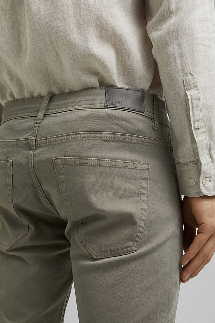 Slim-fitting stretch trousers made of organic cotton, GREY, detail image number 4