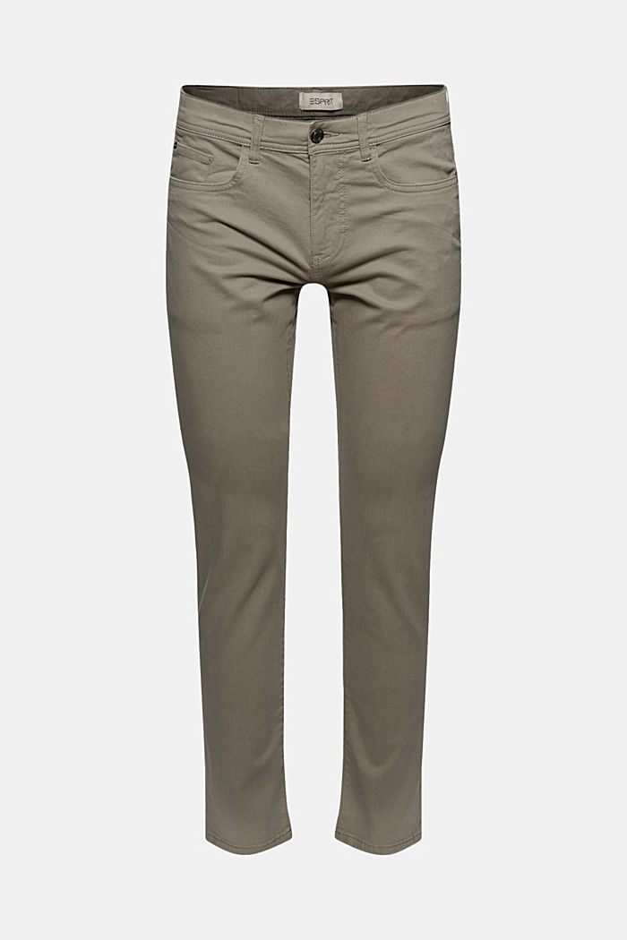Slim-fitting stretch trousers made of organic cotton, GREY, overview