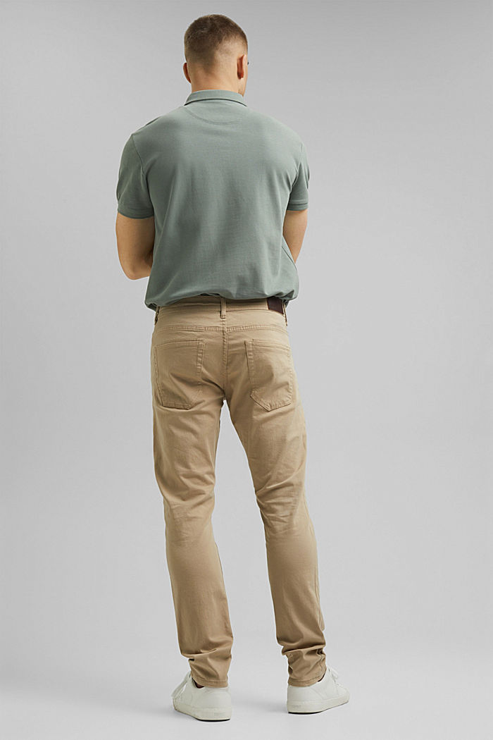 Slim-fitting stretch trousers made of organic cotton, BEIGE, detail image number 3